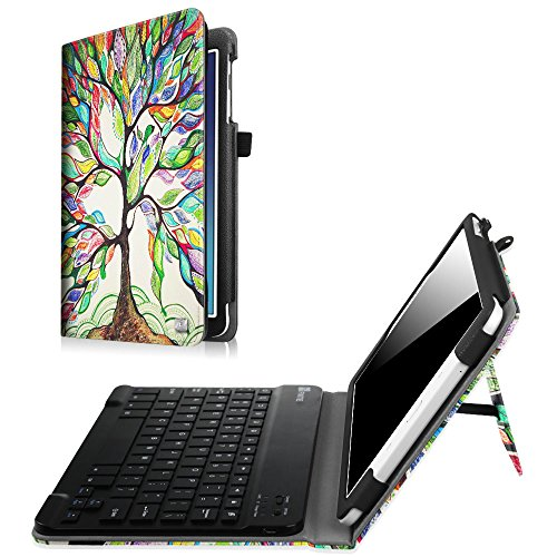 Fintie Keyboard Case for Samsung Galaxy Tab E 9.6 - Slim Fit PU Leather Stand Cover with Premium Quality [All-ABS Hard Material] Removable Wireless [Long Life Battery] Bluetooth Keyboard, Love Tree
