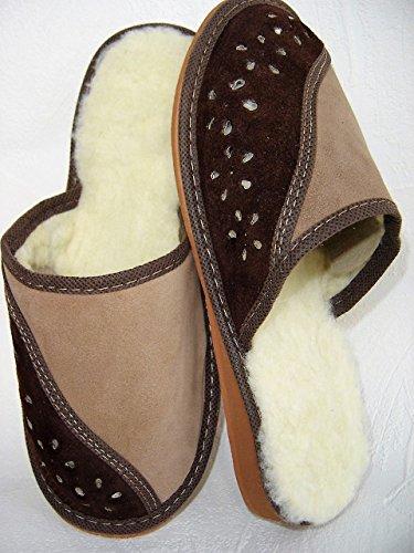Lusy011 Warme Hausschuhe Pantolette Gr.41, Wild- Leder+Schurwolle+Bequem (PL.20.01/42)