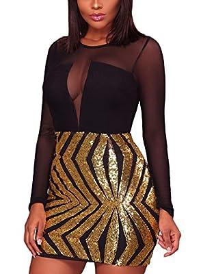 Bulawoo Women's Nightclub Sexy Sheer Mesh Bodycon Long Sleeve Sequin Club Dress