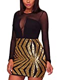 Blibea Women's Night Club Sexy Chic Sheer Mesh Bodycon Long Sleeve Juniors Sequin Club Party Dress Black Gold