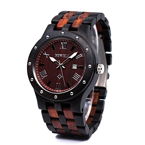 Bewell Wood Watches for Men Date Display Quartz Analog Lumious Pointers (Ebony and Red Sandalwood)