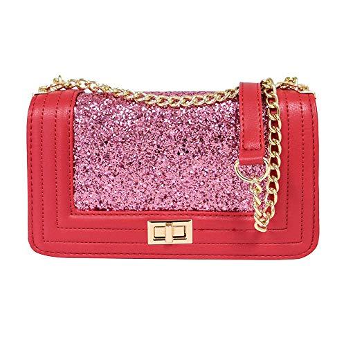 (Women Quilted Crossbody Purse Glitter Ladies Lightweight Shoulder Bag Chain Strap 2-Red)