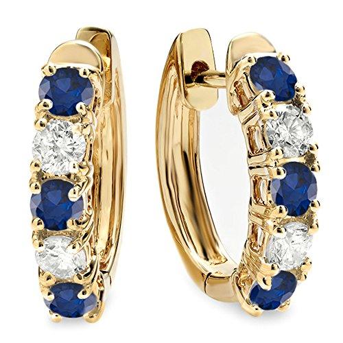 (Dazzlingrock Collection 14K Round Blue Sapphire & White Diamond Ladies Huggies Hoop Earrings, Yellow Gold)