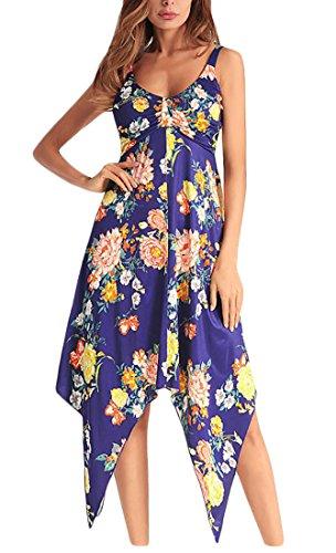 Hem Strap Dress Irregular Pattern Sleeveless Jaycargogo Print Sexy Women 1 Spaghetti wIF08fq