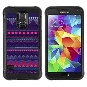 "único patrón Impacto Shock-Absorción y Anti-Arañazos Funda Carcasa Case Bumper Para Samsung Galaxy S5 V , ( Modelo púrpura de Chevron Polígono Líneas"" )"