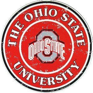 Ohio State Buckeyes 12 Inch Embossed Metal Nostalgia Circular Sign