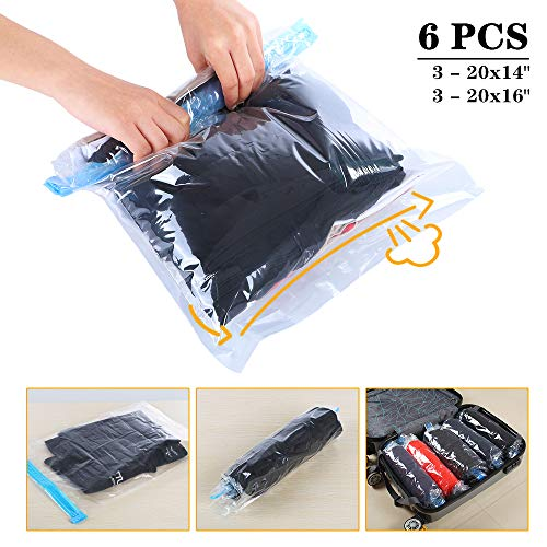 Travel Space Saver Bags Vacuum Travel Storage Bags Reusable Packing Sacks (6 Pack), No Vacuum Pump Needed, Save 80% Luggage Space, Double Zipper, Perfect for Travel/Home - Sack Space