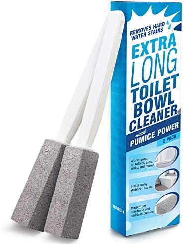 Pumice Stone Toilet Bowl Cleaner with Extra Long Handle, 2 Pack! - Limescale Remover - 100% Natural Pumice Toilet Brush - Also Cleans BBQ Grills, Tiles, Tile Grout, & Swimming Pools by way of Impresa