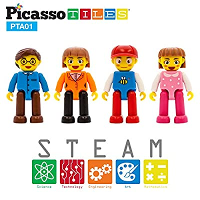 PicassoTiles Magnetic 4 Family Action Figures Toddler Toy Magnet Expansion Pack Educational Add-on STEM Learning Kit Toys Pretend Playset for Construction Building Block Tiles Child Brain Development: Toys & Games