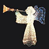 48'' Animated Crystal 3-D Angel with Trumpet Lighted Christmas Yard Art Decoration - Multi-Color Lights
