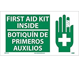 National Marker Corp. SPSA172P First Aid Kit Inside (Bilingual W/Graphic), 10 Inch X 18 Inch, PS Vinyl