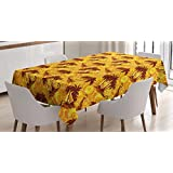 Hawaiian Tablecloth by Ambesonne, Ocean Sea Island Themed Pattern with Palm Trees on Vivid Circled Backdrop, Dining Room Kitchen Rectangular Table Cover, 60W X 84L Inches, Marigold and Brown