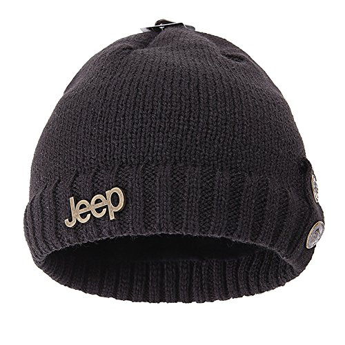 Jeep Winter Warm Twisted Knit Fleece Lined Ski Beanie Black (Jeep Hat)