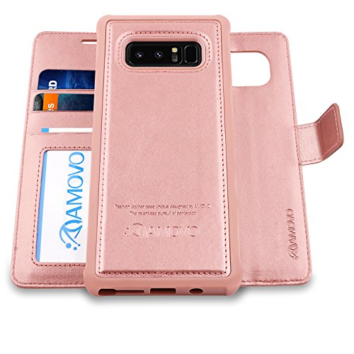 AMOVO Case for Galaxy Note 8 [2 in 1], Samsung Galaxy Note 8 Wallet Case [Detachable Wallet Folio] [Premium Vegan Leather] Samsung Note 8 Flip Cover with Gift Box Package (Note 8, Rosegold)