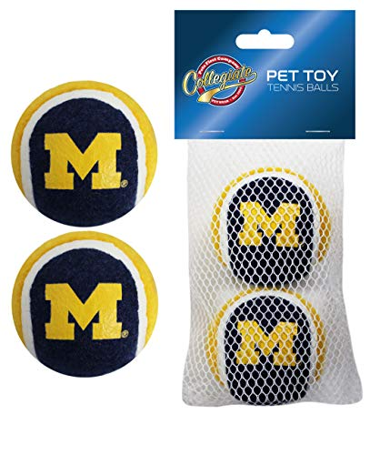 Pets First NCAA Michigan Wolverines Tennis Balls for Dogs & Cats - 2 Piece Set with Team Logo in Vibrant Team Color