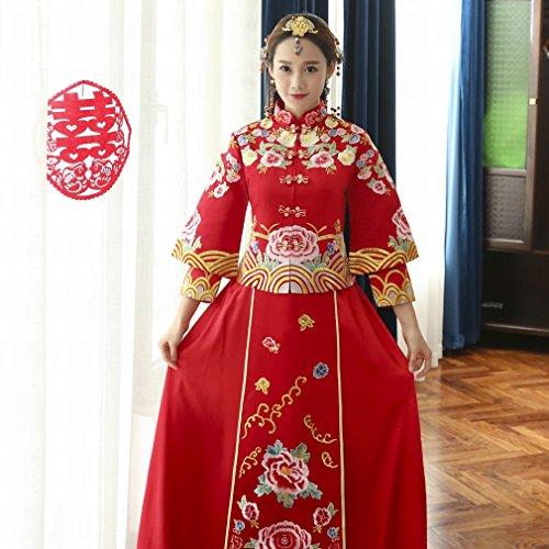 Kleidung Roten Xiu Abschnitt Toast Hochzeitskleid Hochzeit Langen Jacke M Braut Cheongsam Ein Chinesischen DHG Longfeng Wo fwEnqaxXgw