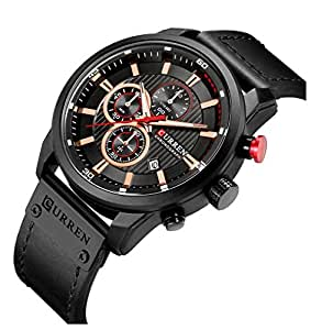 Men Chronograph Sport Watches Brown Leather Strap Quartz Watch Business Casual Wrist Watch For Men (Black)