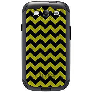 CUSTOM Black OtterBox Commuter Series Case for Samsung Galaxy S3 - Black Yellow Chevron Stripes