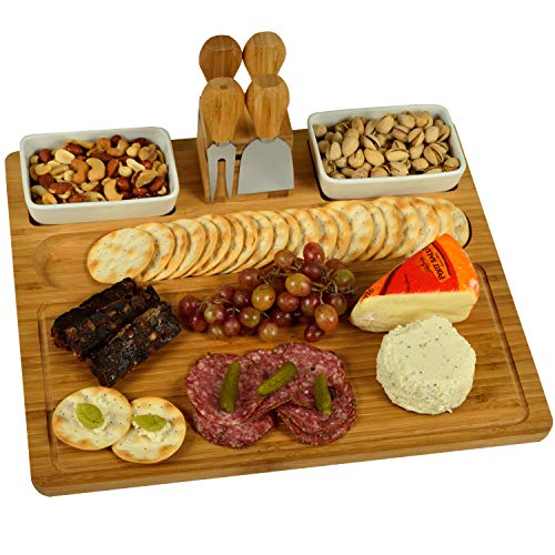 Picnic at Ascot Large Bamboo Cheese Board/Charcuterie Platter with 4 Stainless Steel Tools & 2 Ceramic Bowls - 16