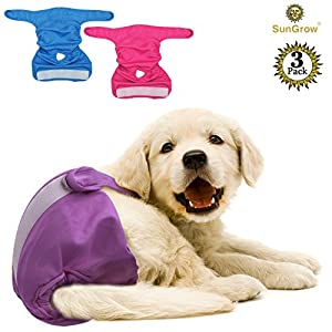 """SunGrow Super Absorbent, Leak-Proof Dono Pet Diapers - Convenient, Environmental Friendly Disposable Pet diapers : Safe & Comfortable Fit for Dogs & Cats (3 Washable Diapers (Waist : 9"""" - 15""""))"""