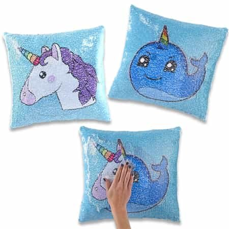 Amazon Com Reversible Sequin Mermaid Pillows Square Shape Unicorn