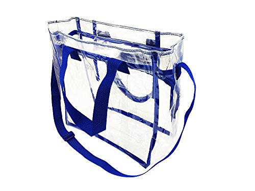 Nova Sport Wear Bag with Handles / Adjustable Strap Transparent Gameday Tote, 12 x 12 x 6 Inch - Blue