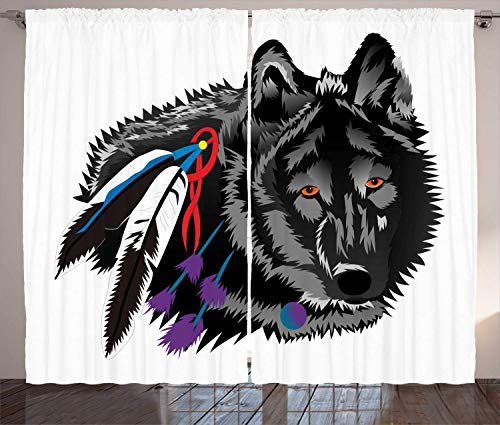 Douglas Hill Wolf Curtains Creative Bohemian Illustration of Savage Predator Animal Portrait with Vivid Feathers Living Room Bedroom Window Drapes 2 Panel Set (Best Senior Portraits Poses)