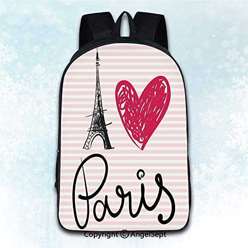 Durable Double Shoulder Bag Rucksack,Paris City Decor Eiffel Tower Illustration Classic Symbol of Romantic Famous Icon Tourist Attractio Multicolor 16 inches,Multipurpose Use Travel Backpack