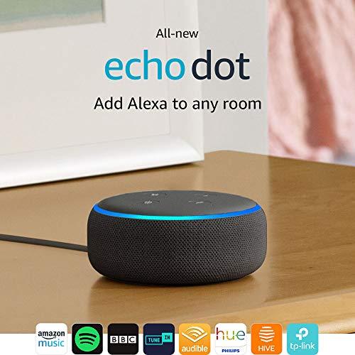All-new Echo Dot (3rd Gen) – Smart speaker with Alexa – Charcoal Fabric