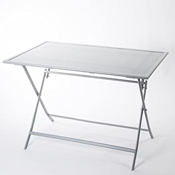 Table FLEXIA pliable pour 4 personnes en verre et acier gris ...