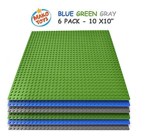 "Lego Compatible Baseplates 10"" x 10"" in Blue and Green, Works with Major Brick Building Sets, Wonderful Plate for Kids"