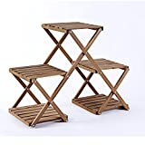 ALUS- Multi - layer folding flower stand environmental solid wood storage rack