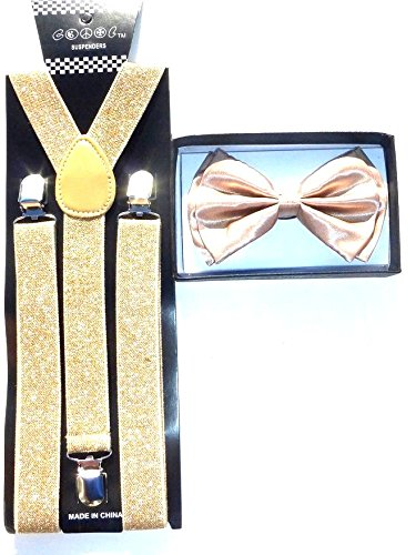 Brand New 2016 Adult Unisex Fashion Golden Glitter Champaign Suspenders Bow Tie Set (Glitter Suspenders)