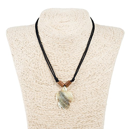 Hand Carved Sea Turtle Shell Pendant Adjustable Corded Necklace with Wood Tubes (Blacklip Shell) Pendant Corded Necklace