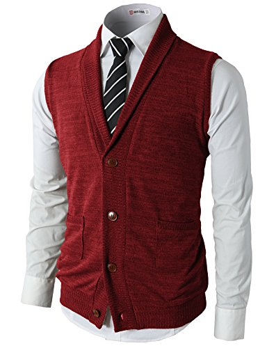 H2H Mens Casual Basic Shawl Collar Knitted Slim Fit Point Button Vest Red US M/Asia L (CMOV034)