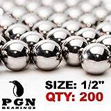 "PGN - Slingshot Ammo 1/2"" Inch (.50 Caliber) Precision Steel Bearing Balls (200 PCS)"