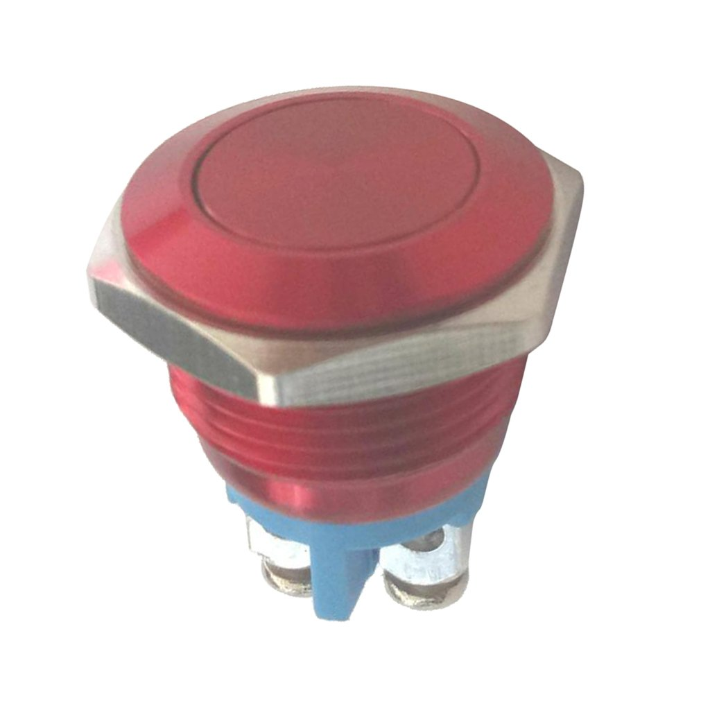 Baoblaze Waterproof Metal Push Button Switch Start Button for 16mm Mounting Hole Wide Appliction Red