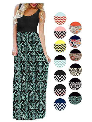 LIYOHON Womens Summer Striped Print Loose Maxi Dress Contrast Sleeveless Tank Top Floral Print Long Maxi Dresses for Women 02 Black Aqua-M