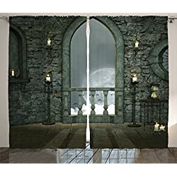 Gothic Decor Curtains by Ambesonne, Full Moon Birds Fairytale Fantasy Old Castle Balcony Candle and Night View, Window Drapes 2 Panel Set for Living Room Bedroom, 108 X 84 Inches, Grey and Ivory
