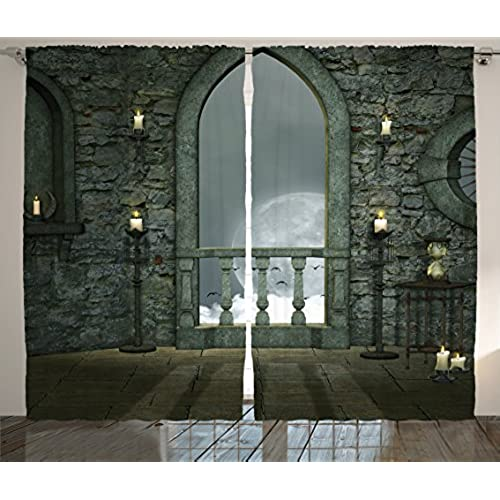 Gothic Decor Curtains by Ambesonne, Full Moon Birds Fairytale Fantasy Old  Castle Balcony Candle and Night View, Window Drapes 2 Panel Set for Living  Room ...