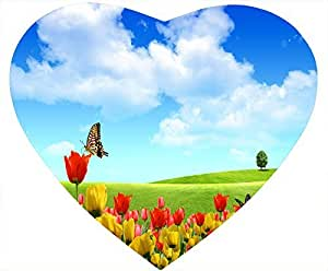 Scenery Nonskid Heart Shaped White Mouse Pad - Butterfly And Tulip