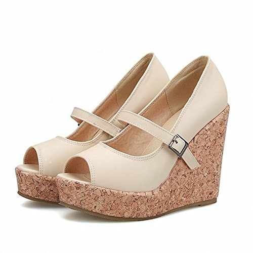 Latasa Womens Chic Peep-toe Platform Hoge Hak Sleehak Mary Jane Pumps Schoenen Beige