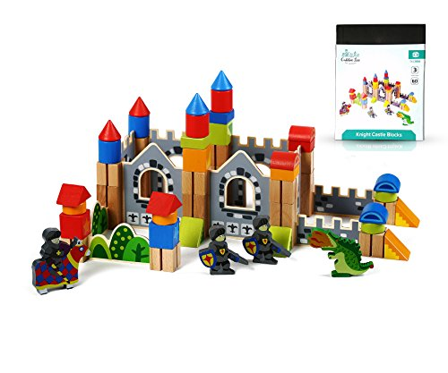 Cubbie Lee New & Unique Knight & Dragon Castle Wooden Building Block Set for Toddlers Preschool Age - Hardwood Plain & Colored Small Wood Blocks for Children - Basic Educational -