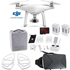 DJI Phantom 4 Quadcopter Drone FPV Virtual Reality Experience includes Drone, Virtual Reality Viewer, Intelligent Flight Battery, Propeller Guards and 32GB microSDHC Memory Card from DJI