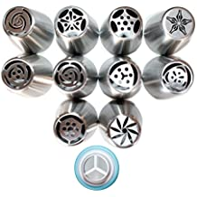 Russian Nozzle Piping Icing Tips 10 Tips + Tri Coupler. Top Quality Stainless Steel Large Tips - By Torenox