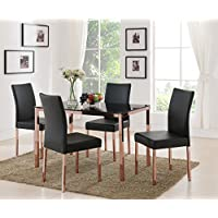 Kings Brand Rose Copper With Black Tempered Glass Kitchen Dinette Dining Table & 4 Chairs