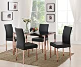 Cheap Kings Brand Rose Copper With Black Tempered Glass Kitchen Dinette Dining Table & 4 Chairs