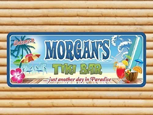 Tiki bar custom personalized sign with for Bar decor amazon