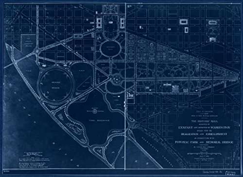 18 x 24 Blueprint Style Reproduced Old Map of: 1901The historic Mall designed by L'Enfant and approved by Washington : study for its realization and embellishment in connection with Potomac - Potomac Map Mall