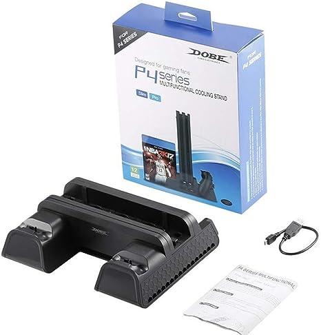 Wiouy - Soporte vertical con ventilador de refrigeración y doble controlador, estación de carga para PS4/PS4 Slim/PS4 Pro: Amazon.es: Electrónica